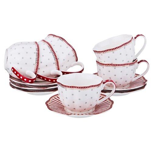 цена на Чайный сервиз Lefard 12 предметов, 250 мл (275-957) белый, красный, серый