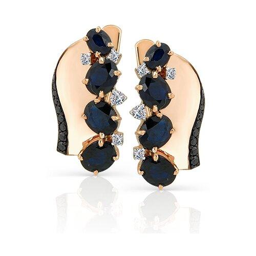 Мастер Бриллиант Золотые серьги с бриллиантом, черным бриллиантом, сапфиром 2-106-595-02