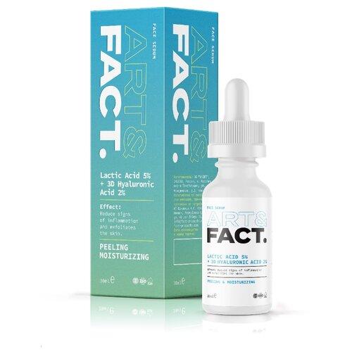 Купить ART&FACT Пилинг-сыворотка для лица Lactic Acid 5% + 3D Hyaluronic Acid 2% с молочной и гиалуроновой кислотой 30 мл