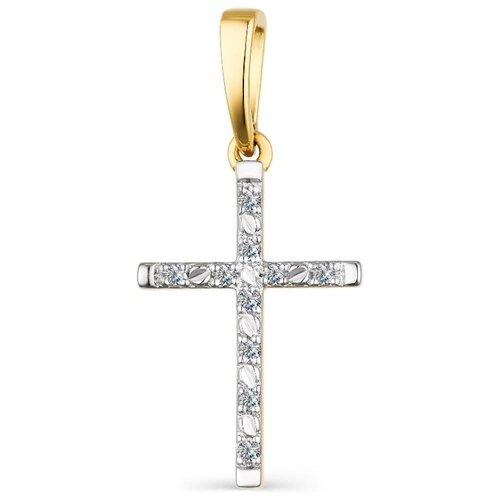 АЛЬКОР Подвеска с 10 бриллиантами из жёлтого золота 3844-300