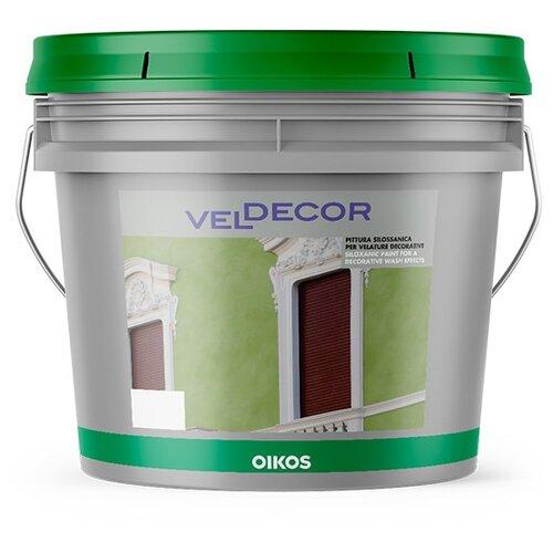 Краска силоксановая Oikos Veldecor влагостойкая моющаяся бесцветный 1 л краска акриловая oikos multidecor перламутровая моющаяся es710 1 л