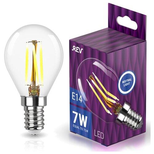 Лампочка светодиодная FILAMENT шарик G45 E14 7W 4000K DECO Premium холодный свет REV 32483 6
