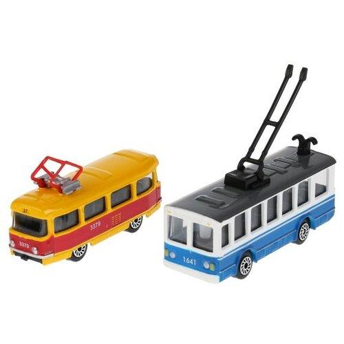 Набор машин ТЕХНОПАРК Городской транспорт (SB-15-06-BLС) 7.5 см желтый/голубой, Машинки и техника  - купить со скидкой