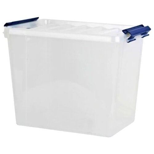 Фото - ПОЛИМЕРБЫТ Контейнер для хранения Профи 31,2х41х29,5 см прозрачный/синий контейнер полимербыт профи kids 32х14х38 см 50001 красный зеленый желтый