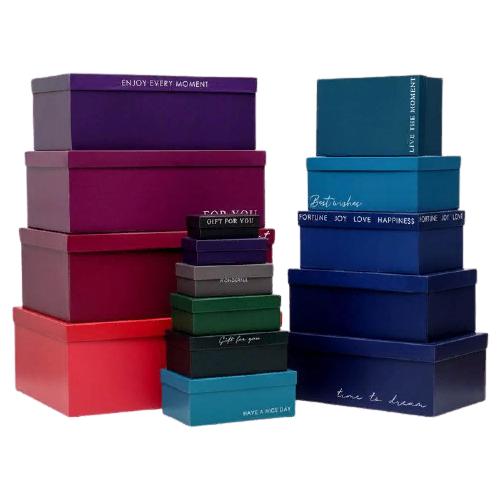 набор подарочных коробок ип выгодский денис владимирович микс 3 шт разноцветный Набор подарочных коробок Дарите счастье Тренд, 15 шт. разноцветный