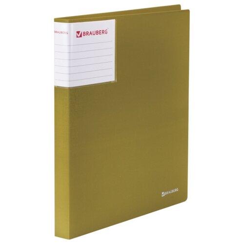 Купить BRAUBERG Папка на 2 кольцах с карманом Шелк А4, 25 мм бронзовая, Файлы и папки