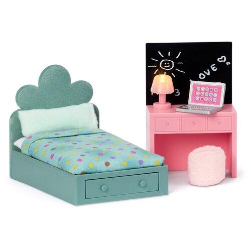 Lundby Набор мебели Комната подростка (LB_60202900) зеленый/розовый, Мебель для кукол  - купить со скидкой