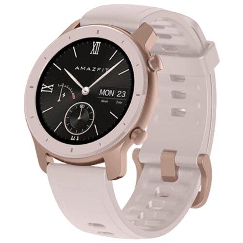Умные часы c GPS Amazfit GTR 42 mm aluminium case, silicone strap cherry blossom pink