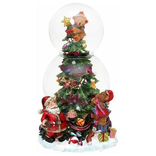 Снежный шар Sigro Мишки наряжают ёлку 21 см (50-0358) зелeный по цене 5 994