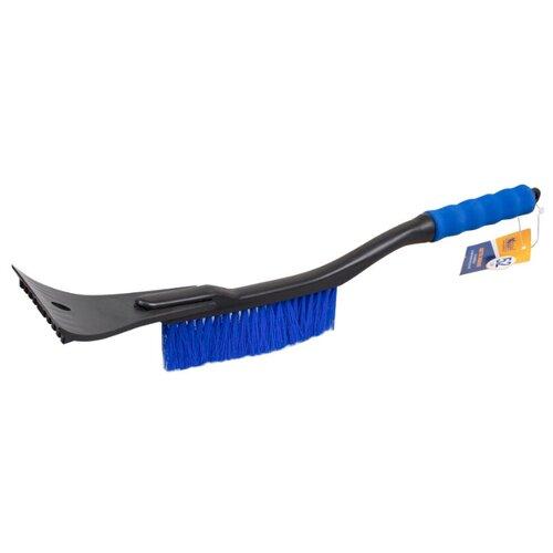 Щетка зимняя автомобильная для снега, со скребком (52 см) синяя щетина, синяя ручка