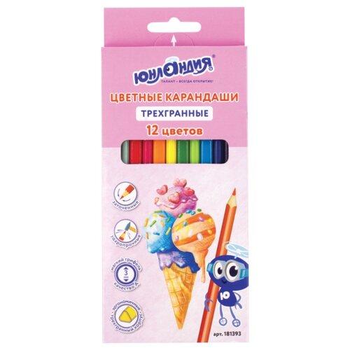Купить Юнландия Карандаши цветные Сладкие истории 12 цветов (181393), Цветные карандаши