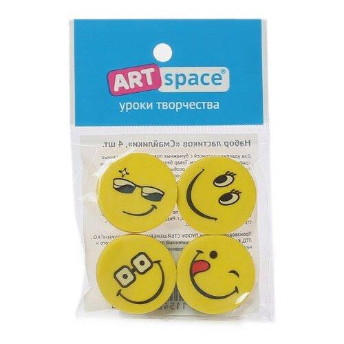 Купить ArtSpace Набор ластиков ArtSpace Смайлики, 4шт. желтый, Ластики