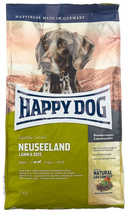 Корм для собак Happy Dog Supreme Sensible Neuseeland ягненок 1 кг