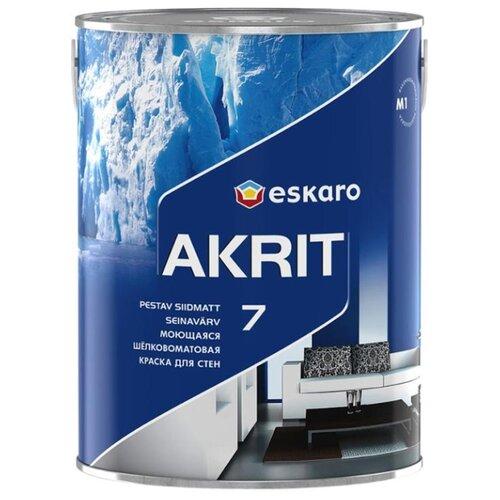 Краска акриловая Eskaro Akrit 7 влагостойкая полуматовая белый 0.95 л