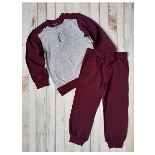 Пижама RobyKris размер 110/116, бордовый/светло-серый