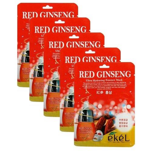 Ekel Red Ginseng Ultra Hydrating Essence Mask Тканевая маска Красный Женьшень, 25 мл, 5 шт.