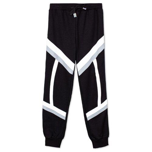 Спортивные брюки playToday размер 98, белый/черный
