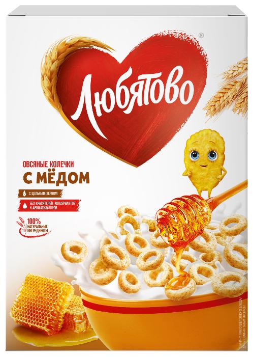 Готовый завтрак Любятово Овсяные колечки с медом, коробка, 200 г
