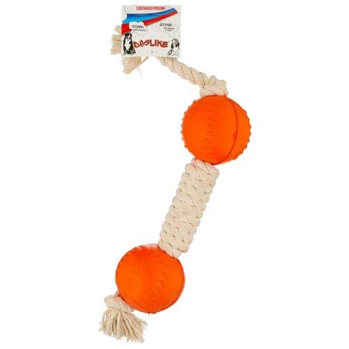 Гантель для собак Doglike Dental Knot канатная средняя (D-2369) белый/оранжевый