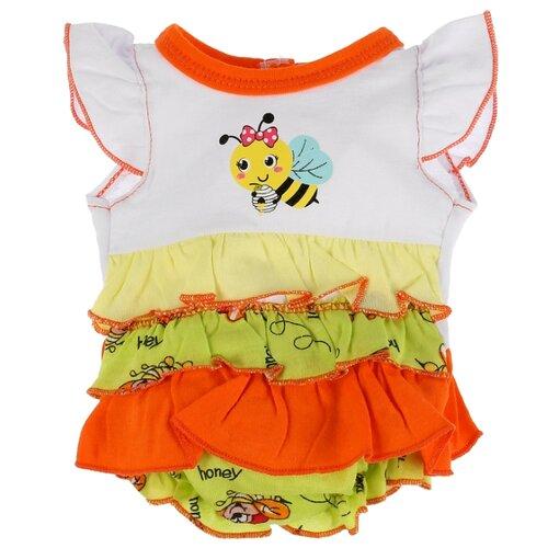Купить Карапуз Боди с воланами для кукол 40-42 см OTF-1905B-RU бело-оранжевый, Одежда для кукол