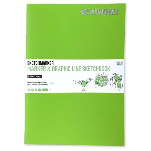 Фото - Скетчбук SketchMarker Marker&Graphic Line 25 х 17.6 см, 180 г/м², 16 л. лайм блокнот graphic frankfurt l 256 стр 16 5 х 22 см 120 г м2