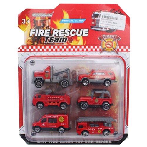 Купить Игровой набор Пожарная бригада, в комплекте: транспорт металл. без механизма 6шт., Наша Игрушка 808D, Наша игрушка, Машинки и техника