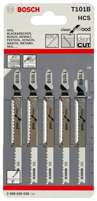 Набор пилок для лобзика BOSCH 2608630030 5 шт.