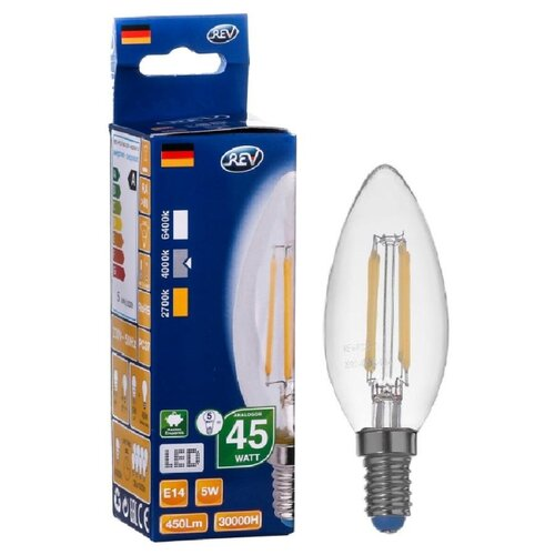 Фото - Лампа светодиодная REV 32360 0, E14, C37, 5Вт лампа светодиодная led e27 8 5вт 220v 2700к rev