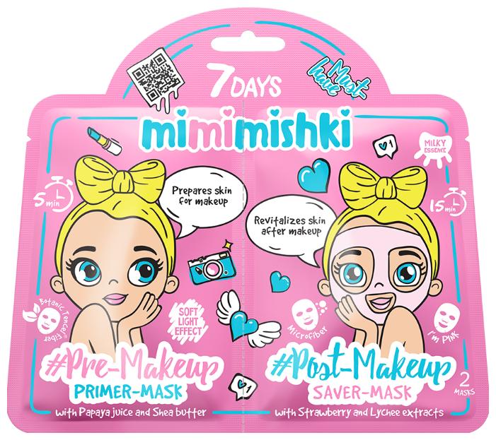 7DAYS Тканевая маска-праймер Mimimishki Pre-Makeup с Папайей и Карите/Тканевая маска-сейвер Mimimishki Post-Makeup с Клубникой и Личи I