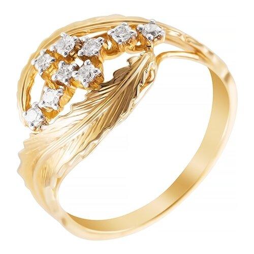 цена на JV Кольцо с 9 бриллиантами из жёлтого золота AAS-3825R-KO-YG, размер 17