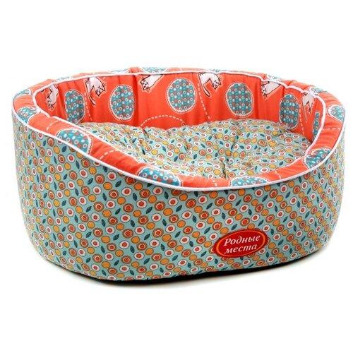 Лежак для собак и кошек Родные места Премиум №2 Персиковый кот 49х43х17 см оранжевый/голубой