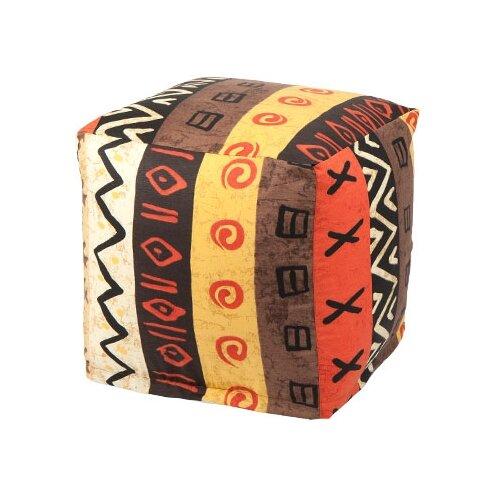Пуффбери пуфик Куб Африкан коричневый/оранжевый/черный жаккард