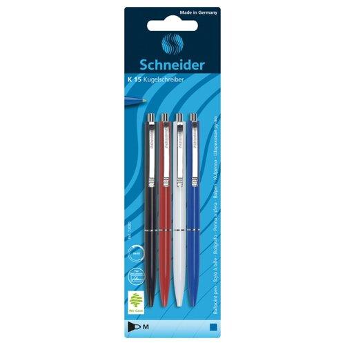 Купить Schneider Набор шариковых ручек K15, 4 шт, 0.5 мм (73080), синий цвет чернил, Ручки