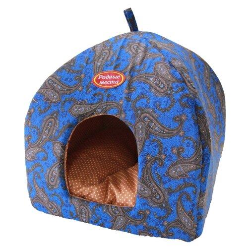 Домик для собак и кошек Родные места Избушка №2 Огурцы 45х45х53 см синий