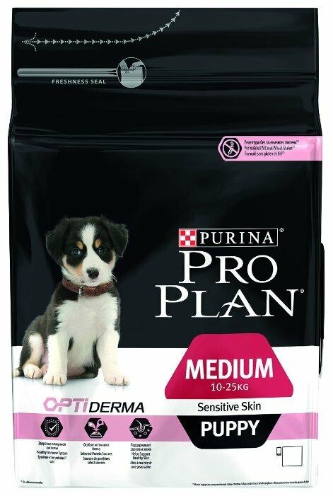 Корм для щенков Purina Pro Plan Optiderma для здоровья кожи и шерсти, лосось с рисом (для средних пород)