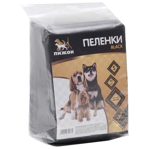 Пеленки для собак впитывающие Пижон гелевые Black 60х40 см black 10 шт.