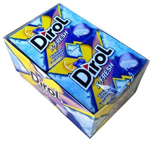 Жевательная резинка Dirol Cadbury X-Fresh Свежесть черники и цитруса, без сахара, 12 шт.*16 г