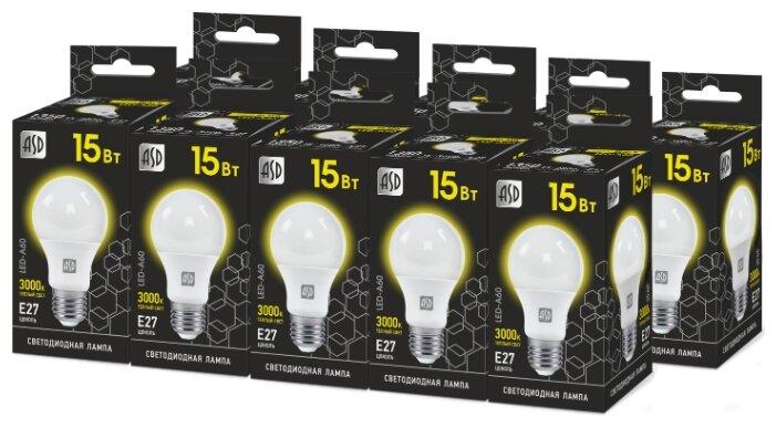 Упаковка светодиодных ламп 10 шт ASD LED-A60-black 3000К, E27, A60, 15Вт