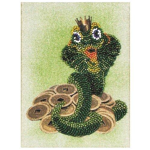 Купить Канва для вышивания с рисунком Alisena Денежная змейка вышивка бисером В1062 12 х 16 см зеленый