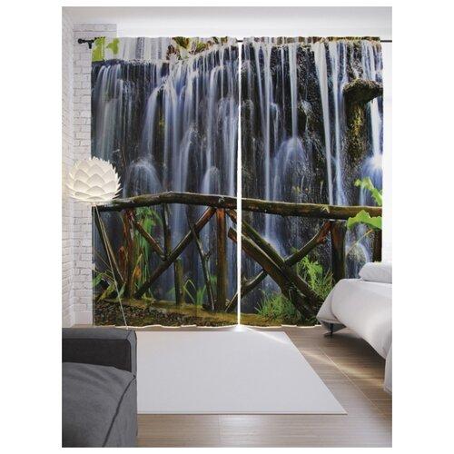 Фотошторы JoyArty Холодный падающий водопад на ленте 265 см голубой/коричневый/зеленый touche chromatique холодный коричневый купить
