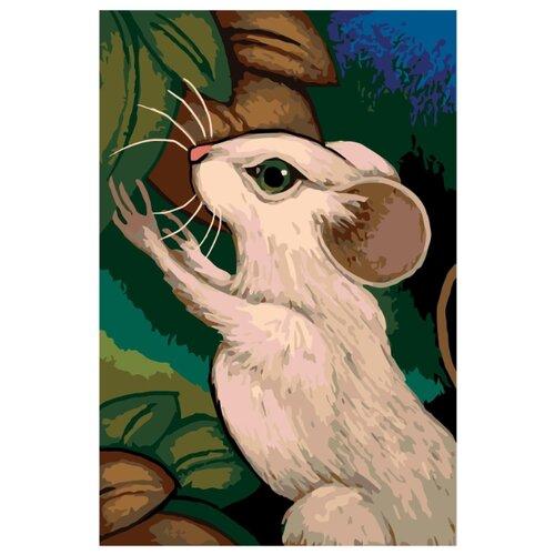 Белая мышь Раскраска по номерам на холсте Живопись по номерам
