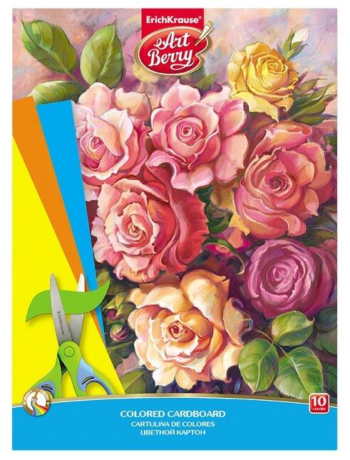 Цветной картон Розы ArtBerry, A4, 10 л., 10 цв.