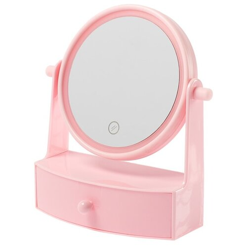 Купить Зеркало косметическое настольное LuazON KZ-05 с подсветкой розовый