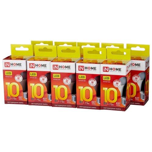 Упаковка светодиодных ламп 10 шт In Home LED-VC 900lm, E27, A60, 10Вт упаковка светодиодных ламп 10 шт in home led vc 900lm e27 a60 10вт