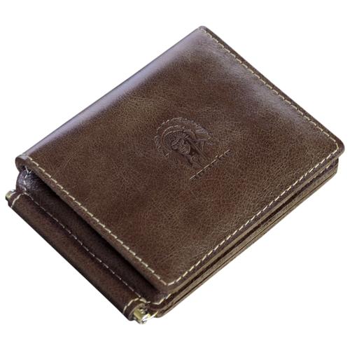 Фото - Кошелек с зажимом для денег и карт из натуральной кожи ОК-4-А дымчато-коричневый Apache портмоне кошелек для документов и денег вояж табачно желтое apache