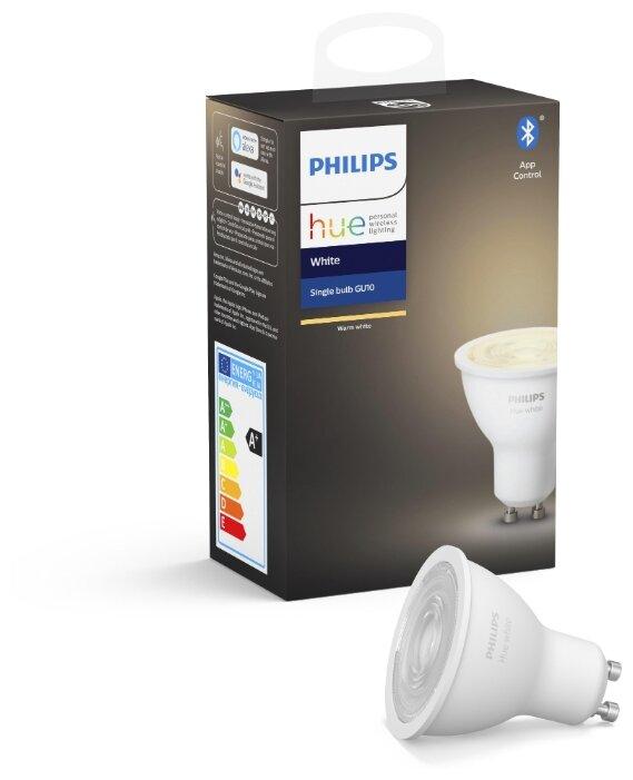 Лампа светодиодная Philips Hue White, GU10, 5.2Вт фото 1