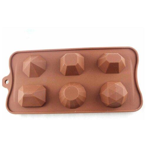 Форма для мармелада Доляна Драгоценные камни, 6 ячеек коричневый