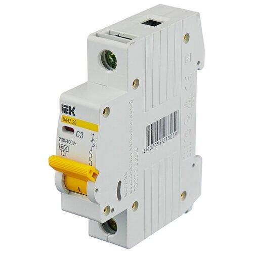 Автоматический выключатель IEK ВА 47-29 1P (C) 4,5kA 3 А автоматический выключатель эра ва 47 29 1p c 4 5ka 16 а