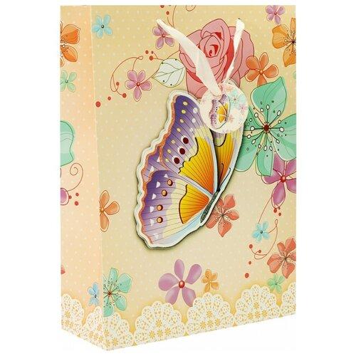 Пакет подарочный Perfect Craft Бабочка в цветах 30 х 42 х 12 см бежевый