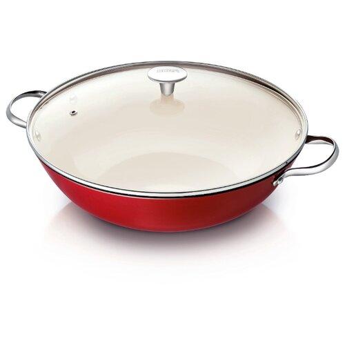 Сковорода-вок Beka Arome 16303724 34 см с крышкой, красный/белый сковорода вок oms 3228 24 r красный с антипригарным покрытием с крышкой диамтер 24 см